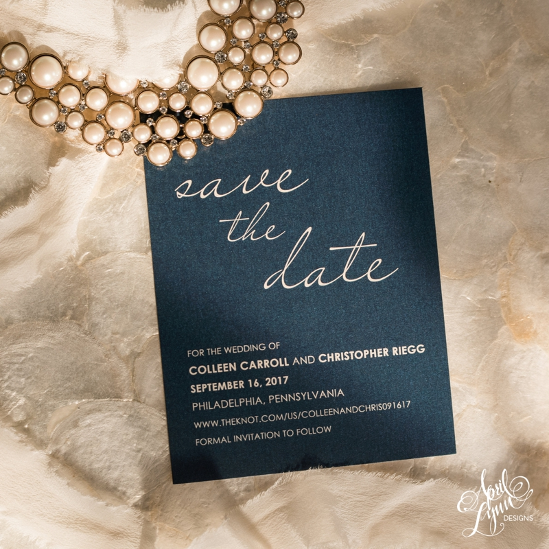 Elegant navy and gold save the date by April Lynn Designs | www.aprillynndesigns.com