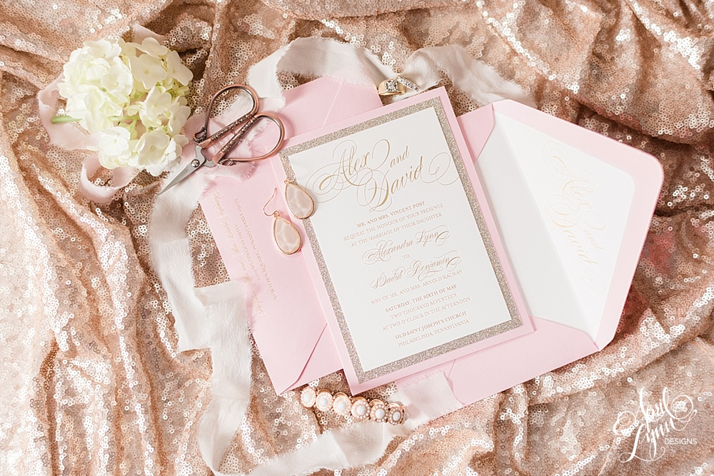 Alex_David_Gold_Foil_Pink_Luxury_Wedding_Invitation_Ballroom_at_the_Ben_Wedding_Philadelphia_Blush_Gold_Glitter_Wedding_Stationery