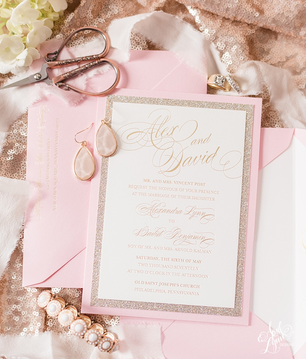 Luxury Gold Foil and Glitter Wedding Invitation Suite | www.aprillynndesigns.com