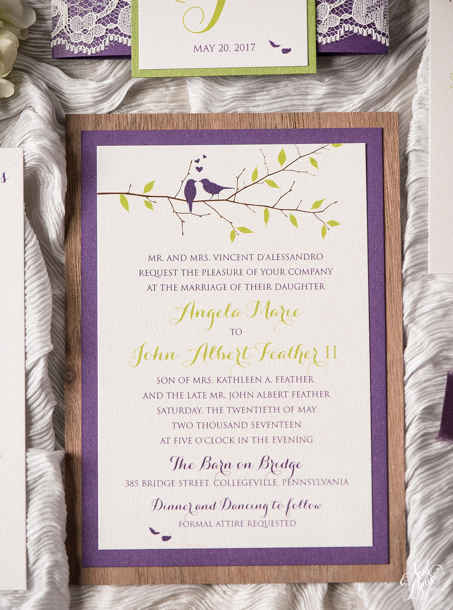 Rustic Love Birds Wedding Invitation Suite | www.aprillynndesigns.com
