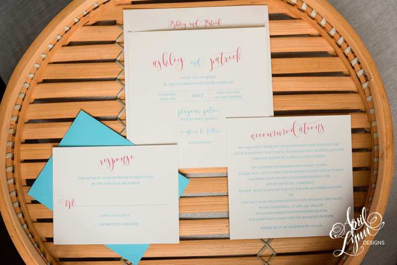 Ashley and Patrick's Riviera Maya Destination Wedding Invitation Suite | www.aprillynndesigns.com
