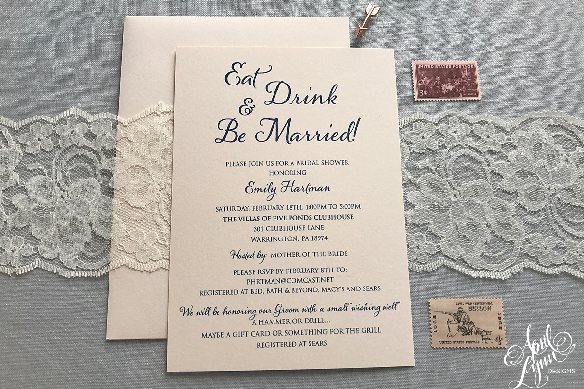Eat, Drink, And Be Married Bridal Shower Invitation |  Www.aprillynndesigns.com