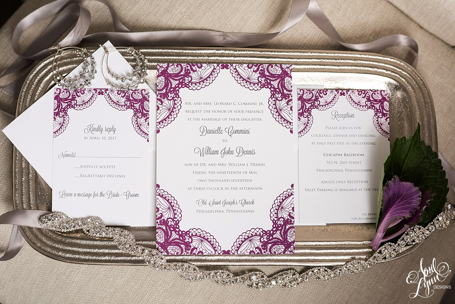 Pink and Gray Lace Wedding Invitation Suite | www.aprillynndesigns.com
