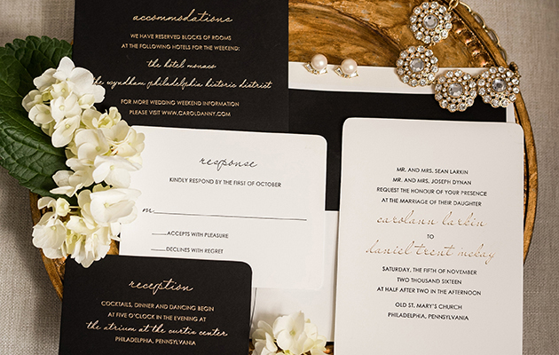 Luxurious Gold Foil and Black Letterpress Wedding Invitation Suite | www.aprillynndesigns.com