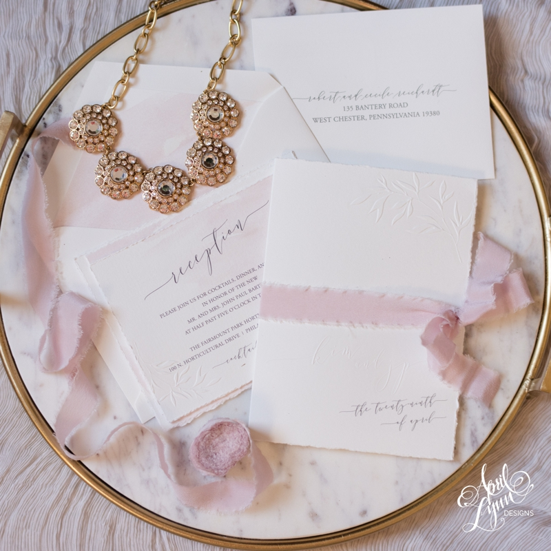 Kim + JP's Fairmount Park Horticulture Center Embossed Blush Watercolor Wedding Invitation Suite | www.aprillynndesigns.com