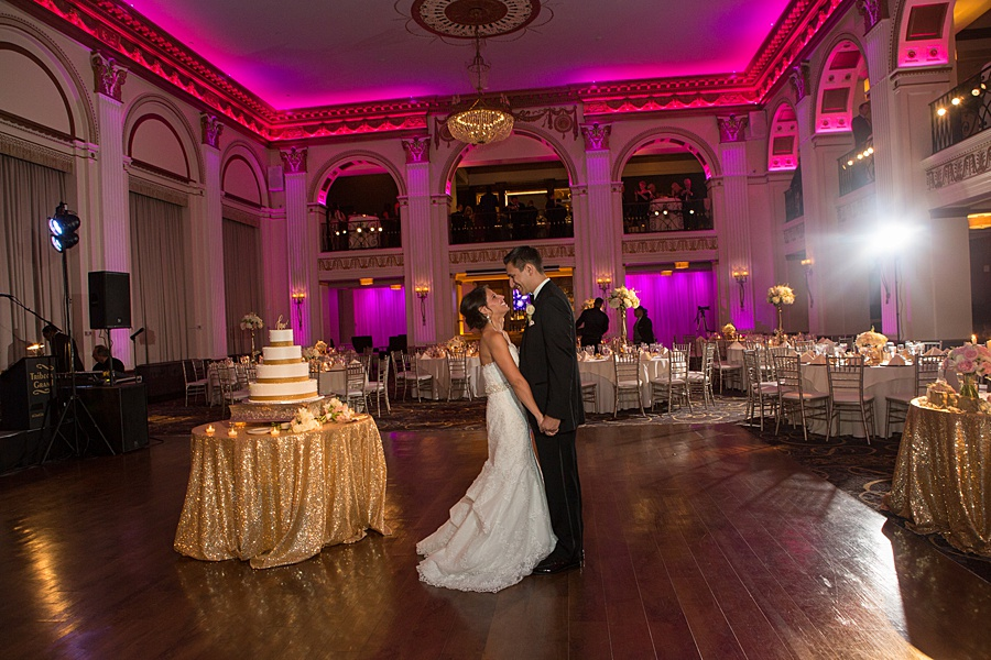 Glamorous Blush and Pink Ballroom at the Ben Wedding in Philadelphia | www.aprillynndesigns.com