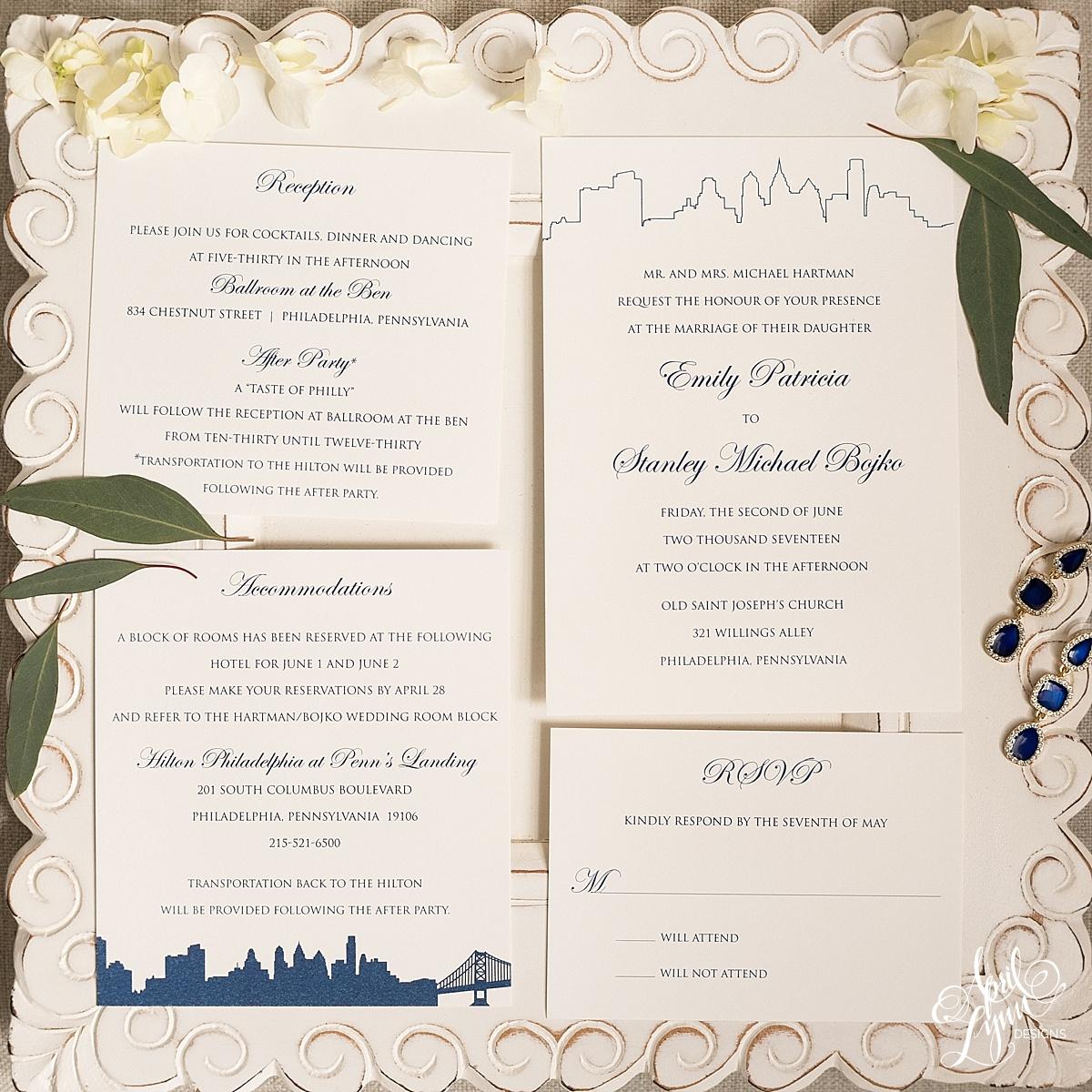 Classic Philadelphia Skyline Wedding Invitation Suite