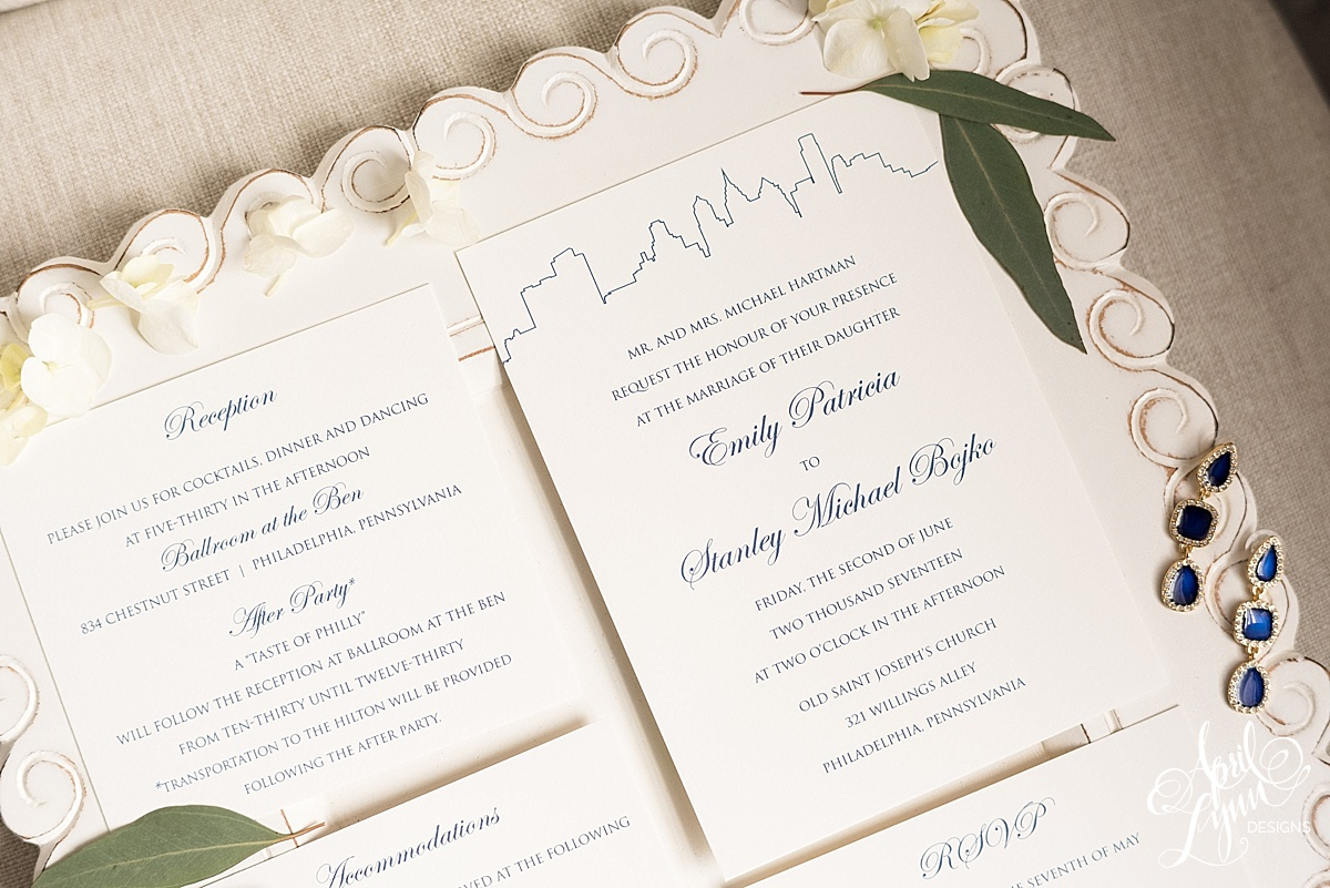 Classic Philadelphia Skyline Wedding Invitation Suite | www.aprillynndesigns.com