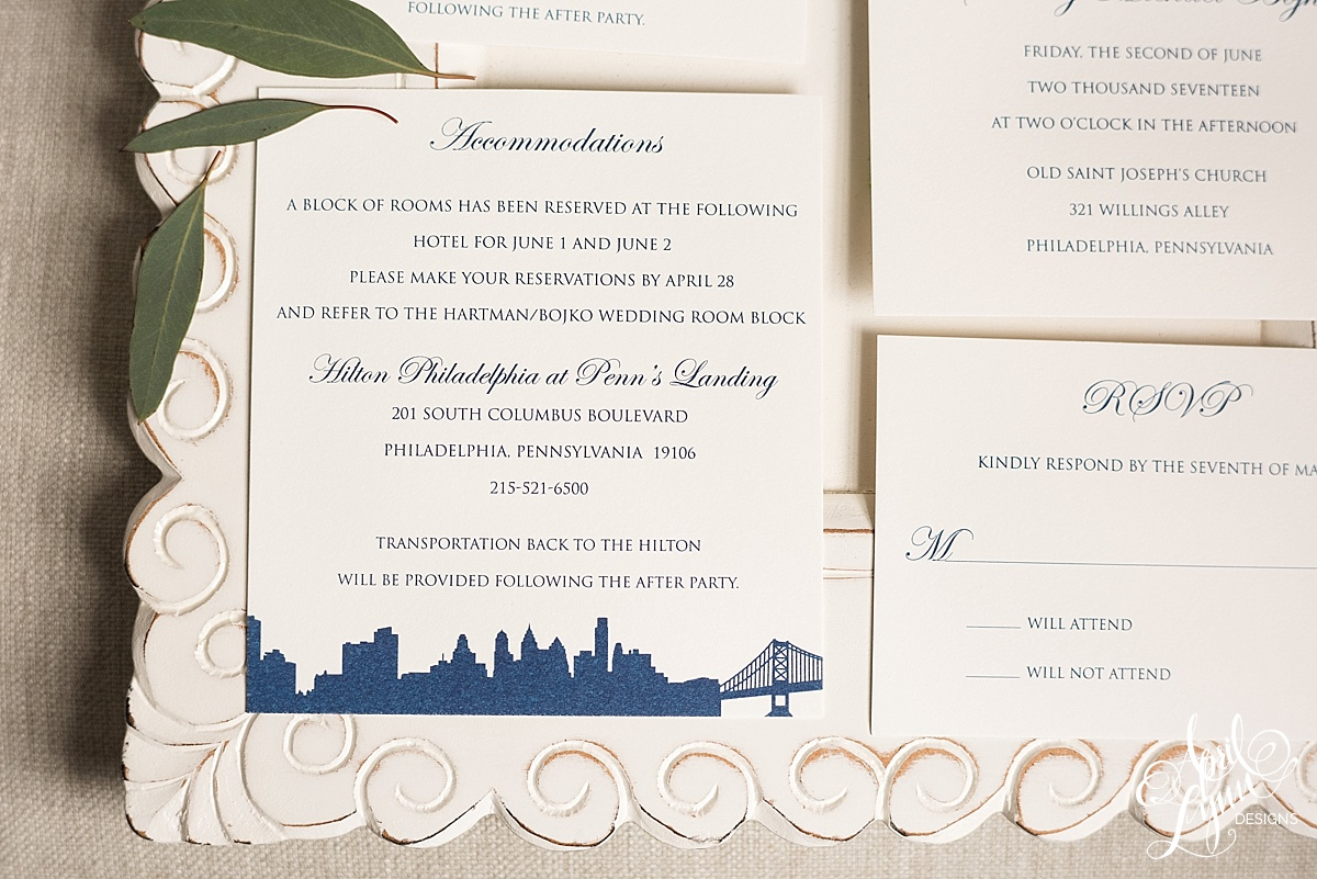 Classic Philadelphia Skyline Wedding Invitation Suite | www.aprillynndesigns.com