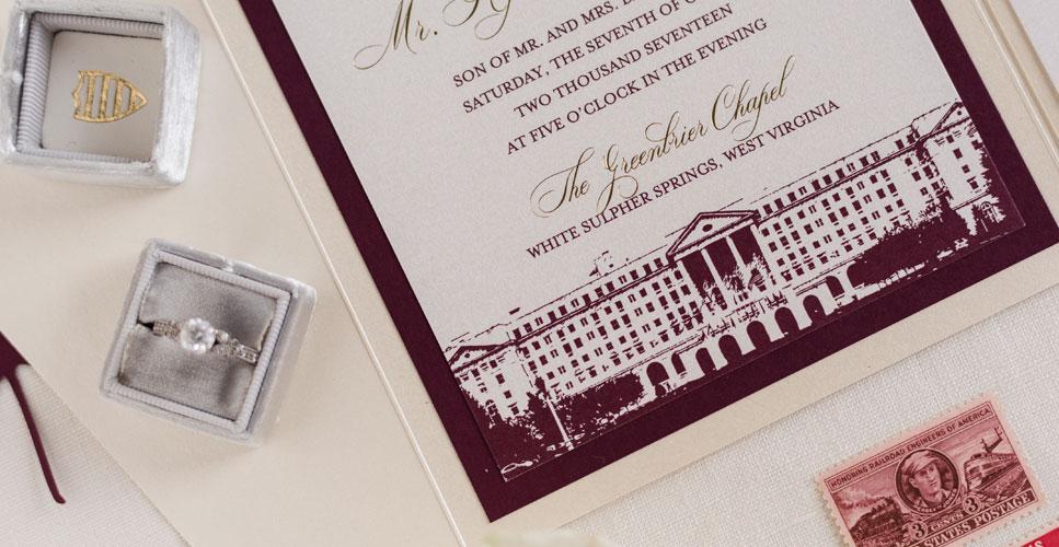 April_Lynn_Designs_Greenbrier_Wedding_Invitation_Burgundy_Gold_Ivory_967_500