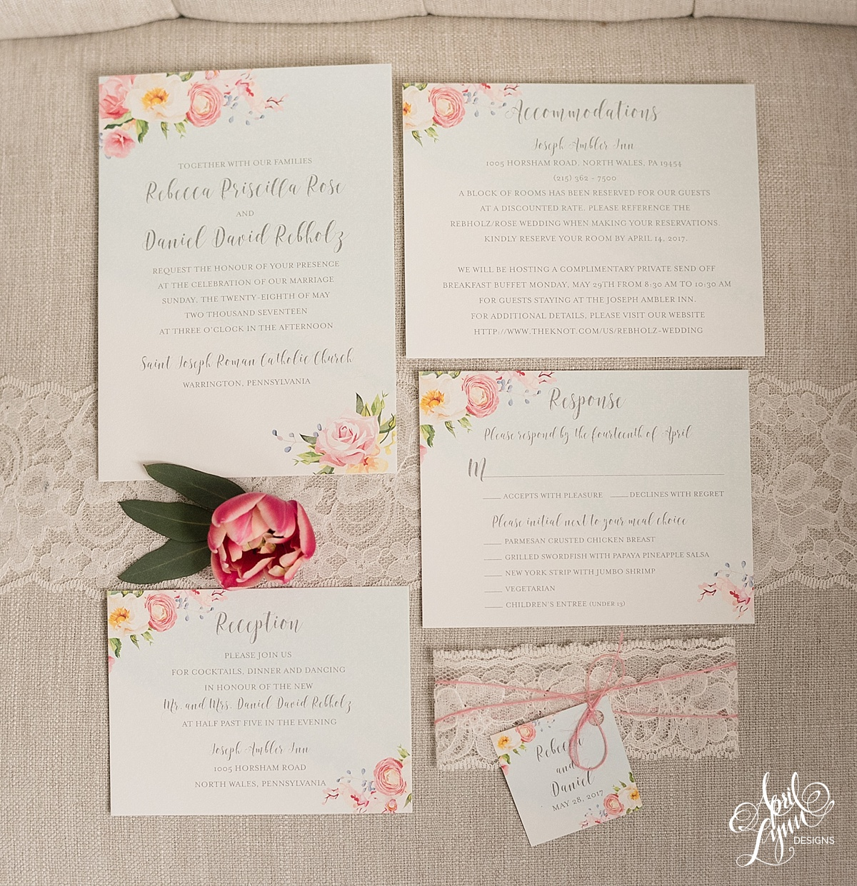 Floral Watercolor Wedding Invitation Suite | www.aprillynndesigns.com