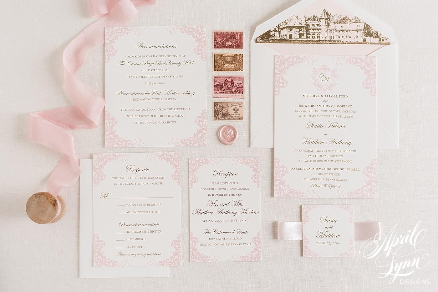 April_Lynn_Designs_Cairnwood_Estate_Regal_Blush_Pink_Gold_Foil_Wedding_Invitation_Luxury_Philadelphia