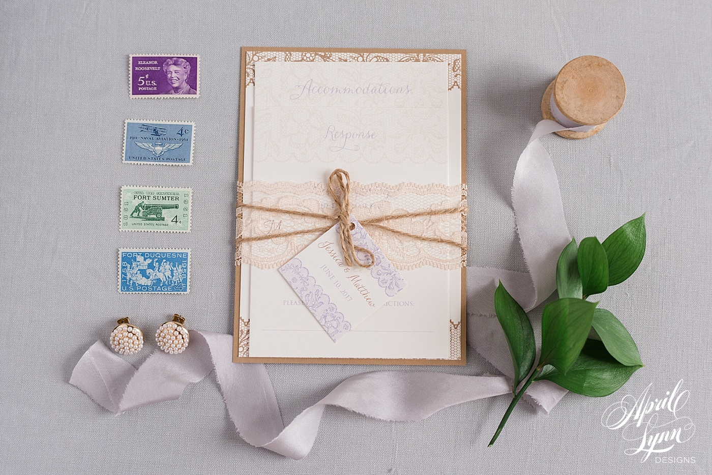 Rustic Lace Wedding Invitation Suite   www.aprillynndesigns.com