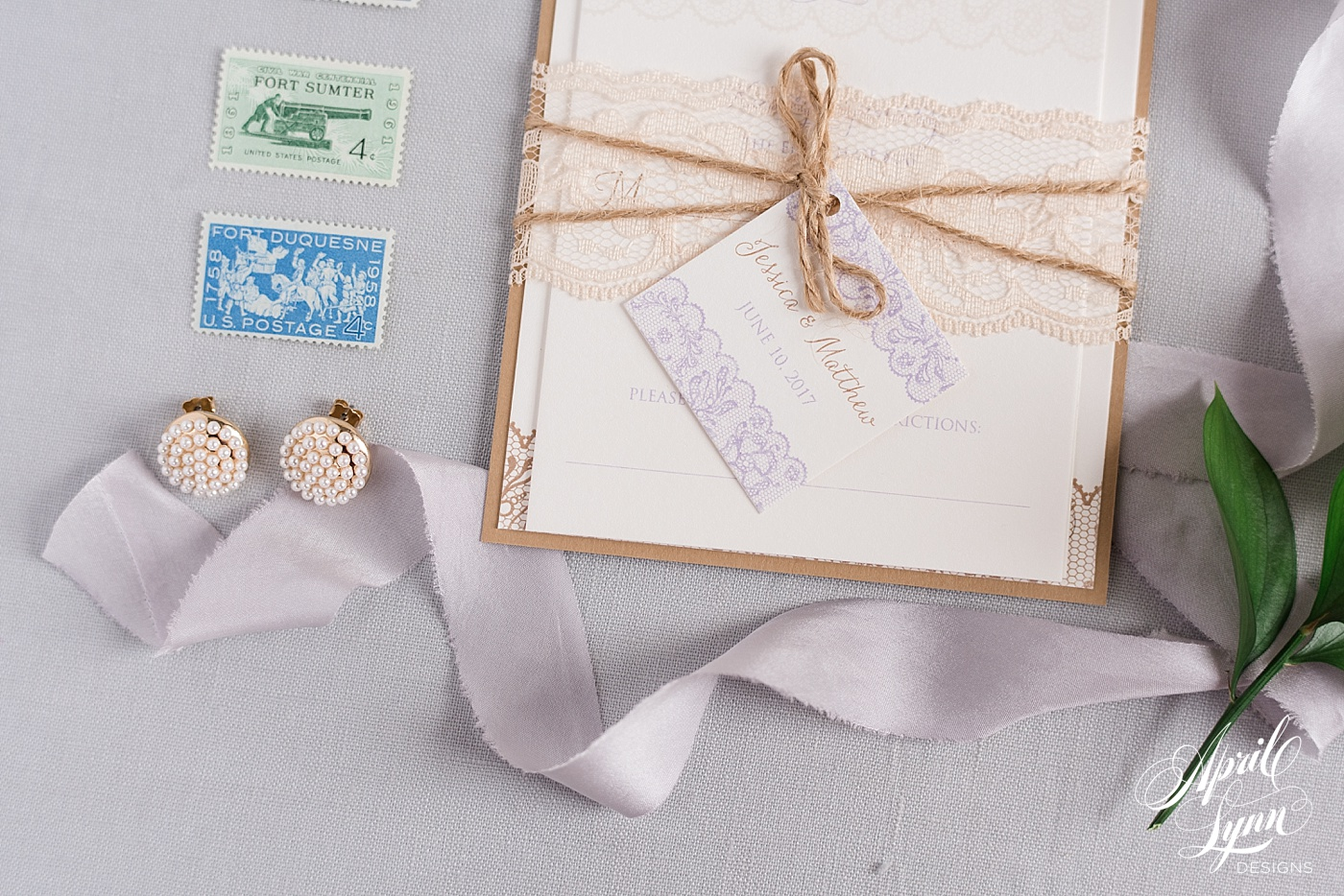 Rustic Lace Wedding Invitation Suite | www.aprillynndesigns.com