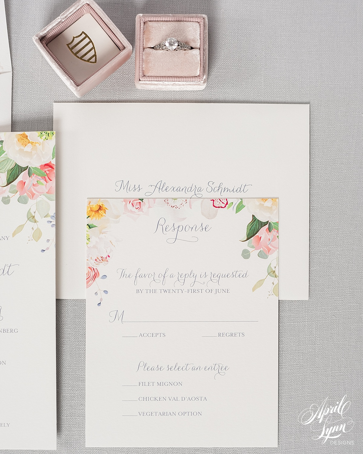 Rustic Chic Floral Wedding Invitation | www.aprillynndesigns.com