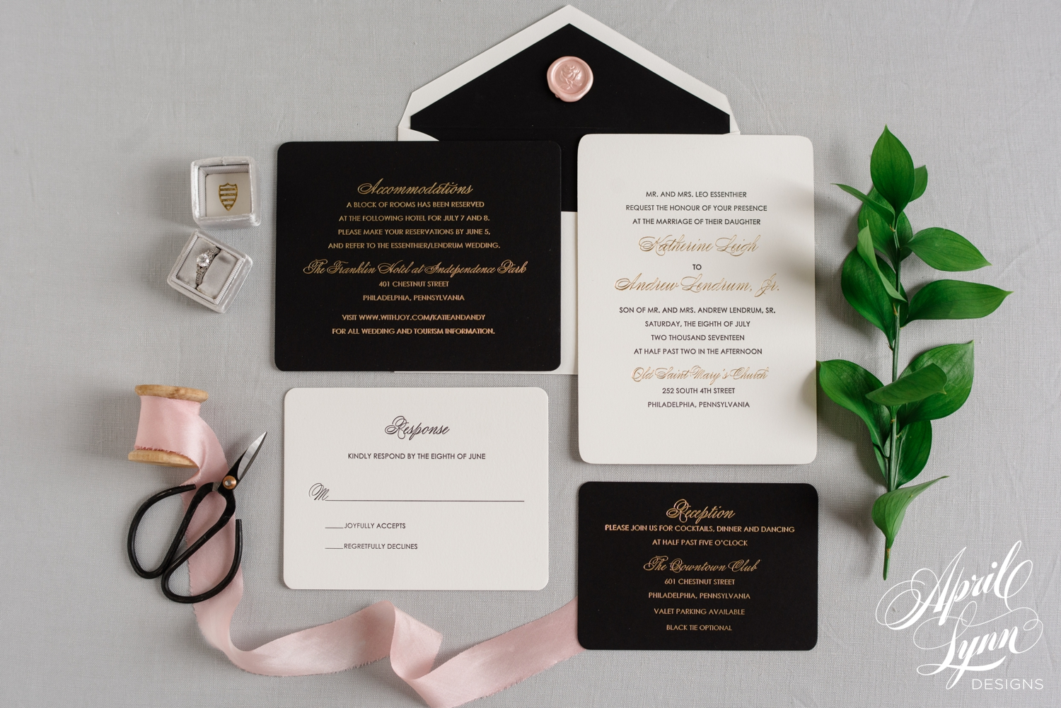 Katie Andy s Luxury Gold Foil and Letterpress Wedding Invitation