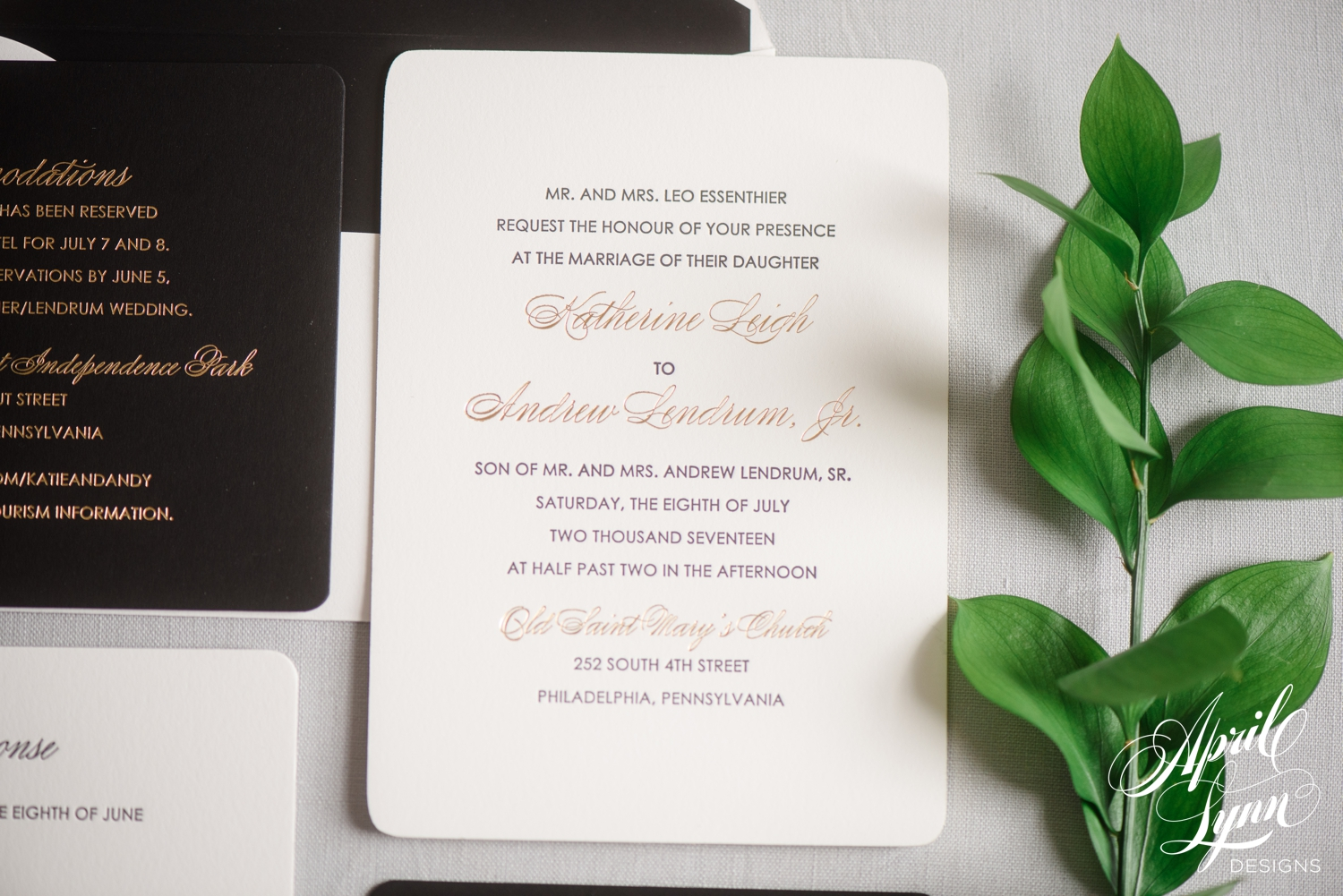Luxury Gold Foil and Letterpress Wedding Invitation Suite | www.aprillynndesigns.com