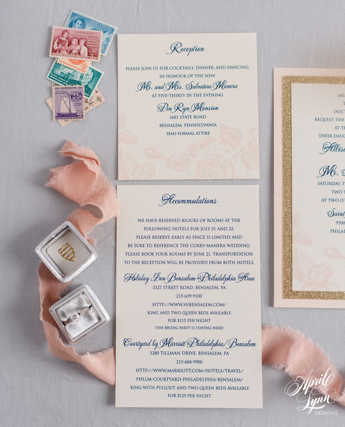 Floral Blush + Gold Glitter Wedding Invitation Suite | www.aprillynndesigns.com