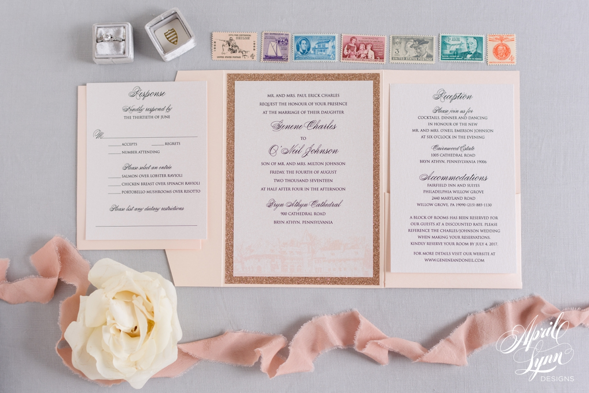 Blush Pink and Rose Gold Glitter Pocketfold Wedding Invitation Suite