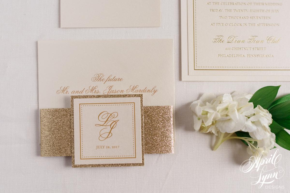 Custom Monogram Luxury Gold Foil and Ivory Philadelphia Wedding Invitation Suite | www.aprillynndesigns.com