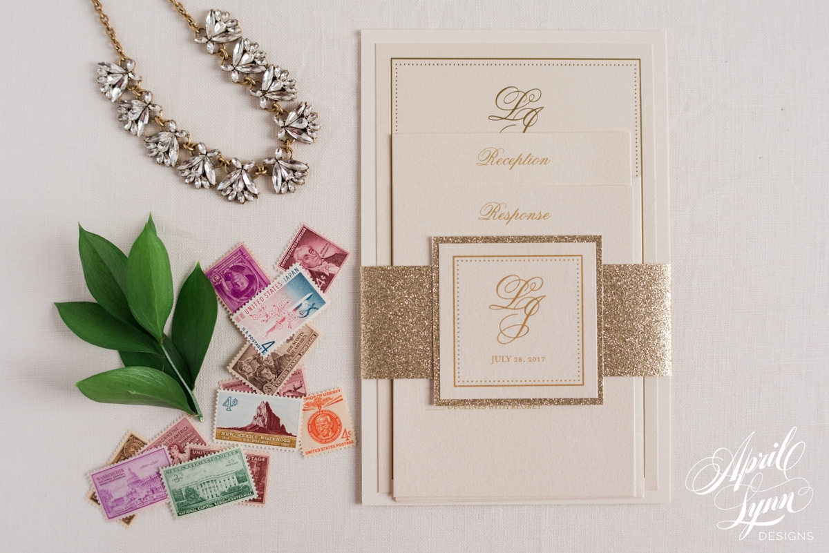 Custom Monogram Luxury Gold Foil and Ivory Philadelphia Wedding Invitation Suite | www.aprillynndesigns.com
