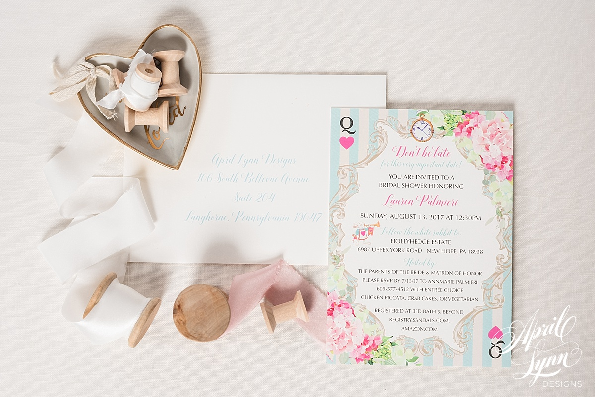 Wonderland Themed Bridal Shower Invitation | www.aprillynndesigns.com