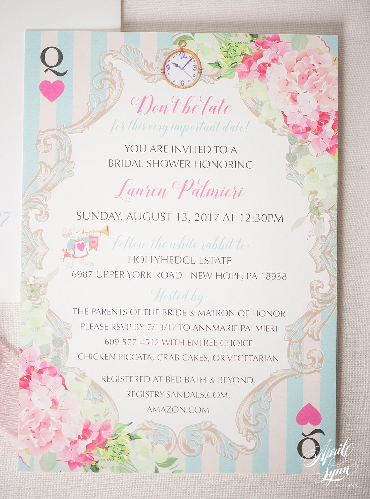 Wonderland Themed Bridal Shower Invitation   www.aprillynndesigns.com
