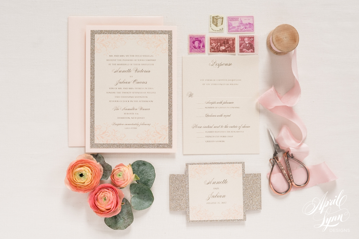 Blush Pink Gold Foil New Jersey Wedding Invitation Suite | www.aprillynndesigns.com