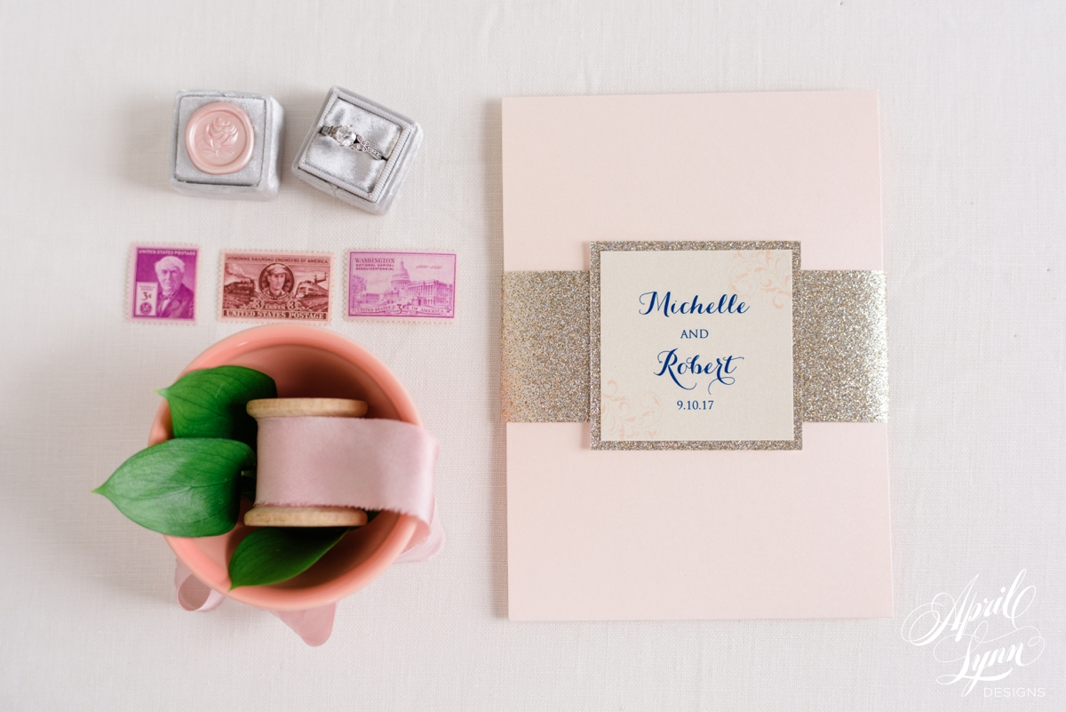 Blush Pink and Gold Glitter Pocketfold The Down Town Club Wedding Invitation Suite | www.aprillynndesigns.com