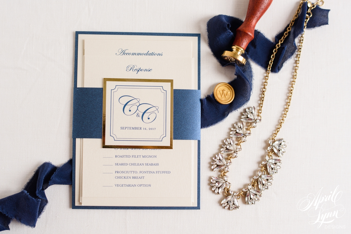 Navy and Gold Foil Luxury Monogram Wedding Invitation | www.aprillynndesigns.com