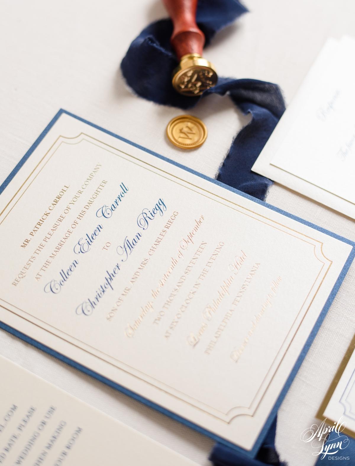 Navy and Gold Foil Luxury Monogram Wedding Invitation | www.aprillynndesigns.com