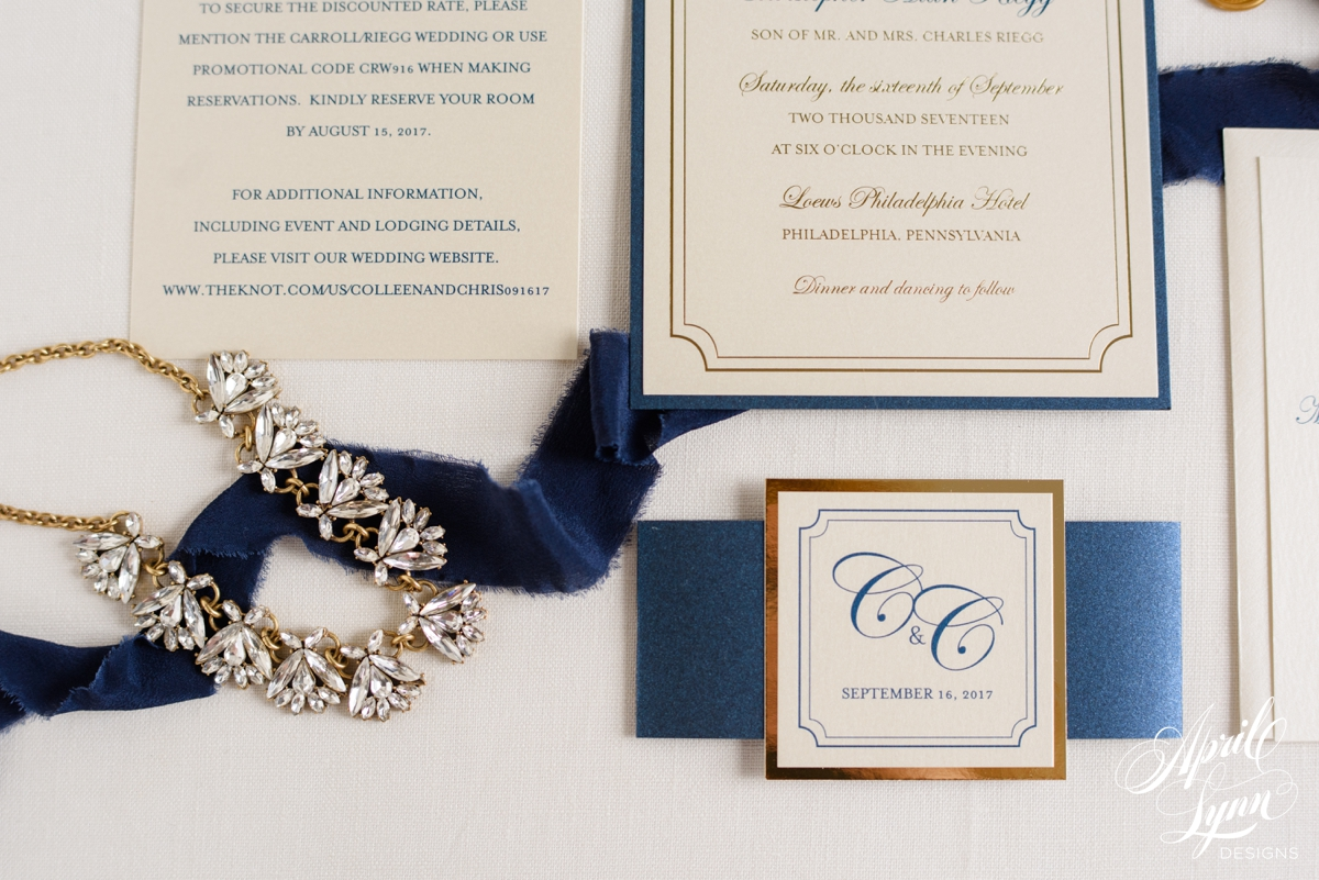 Navy And Gold Wedding Invitations: Colleen + Chris's Luxury Gold Foil And Navy Wedding