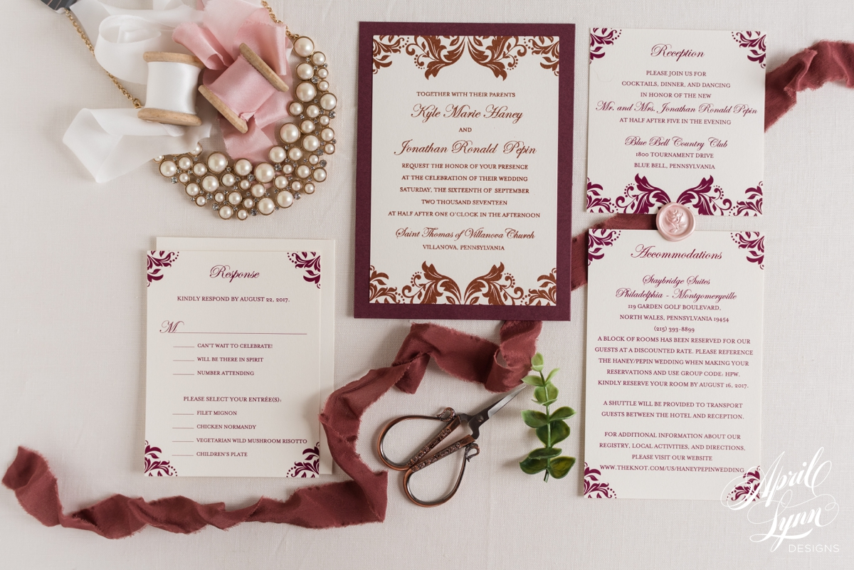 Bronze Metallic and Burgundy Wedding Invitation Suite | www.aprillynndesigns.com