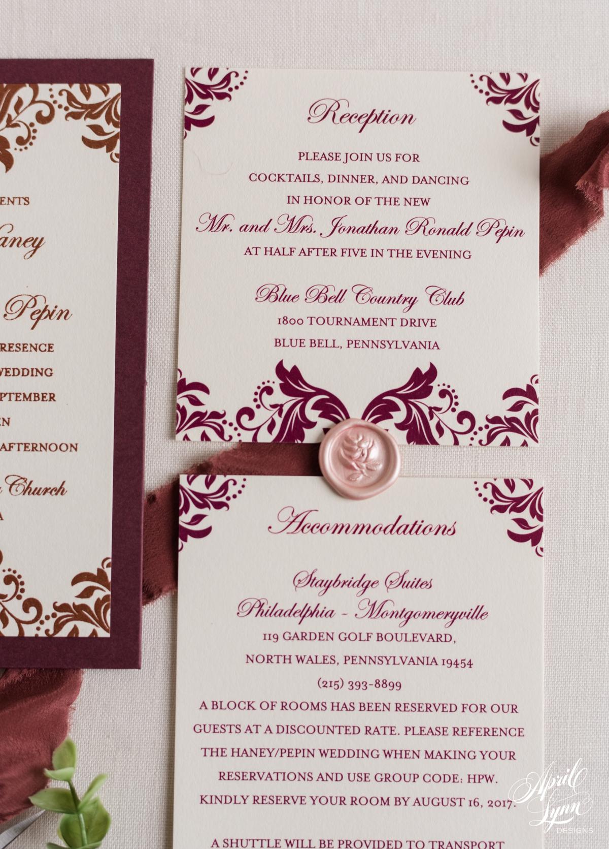 Bronze Metallic and Burgundy Wedding Invitation Suite   www.aprillynndesigns.com