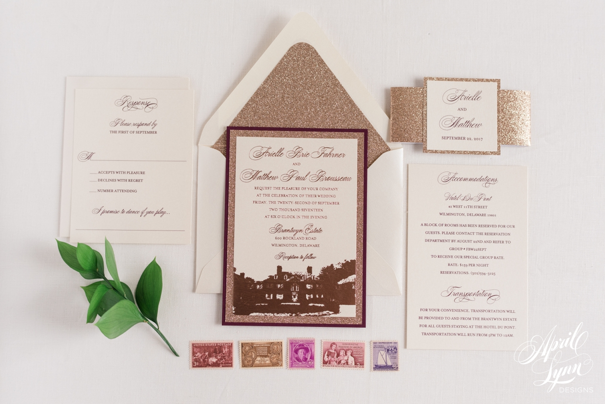 Luxury Rose Gold Foil and Burgundy Wedding Invitation Suite | www.aprillynndesigns.com