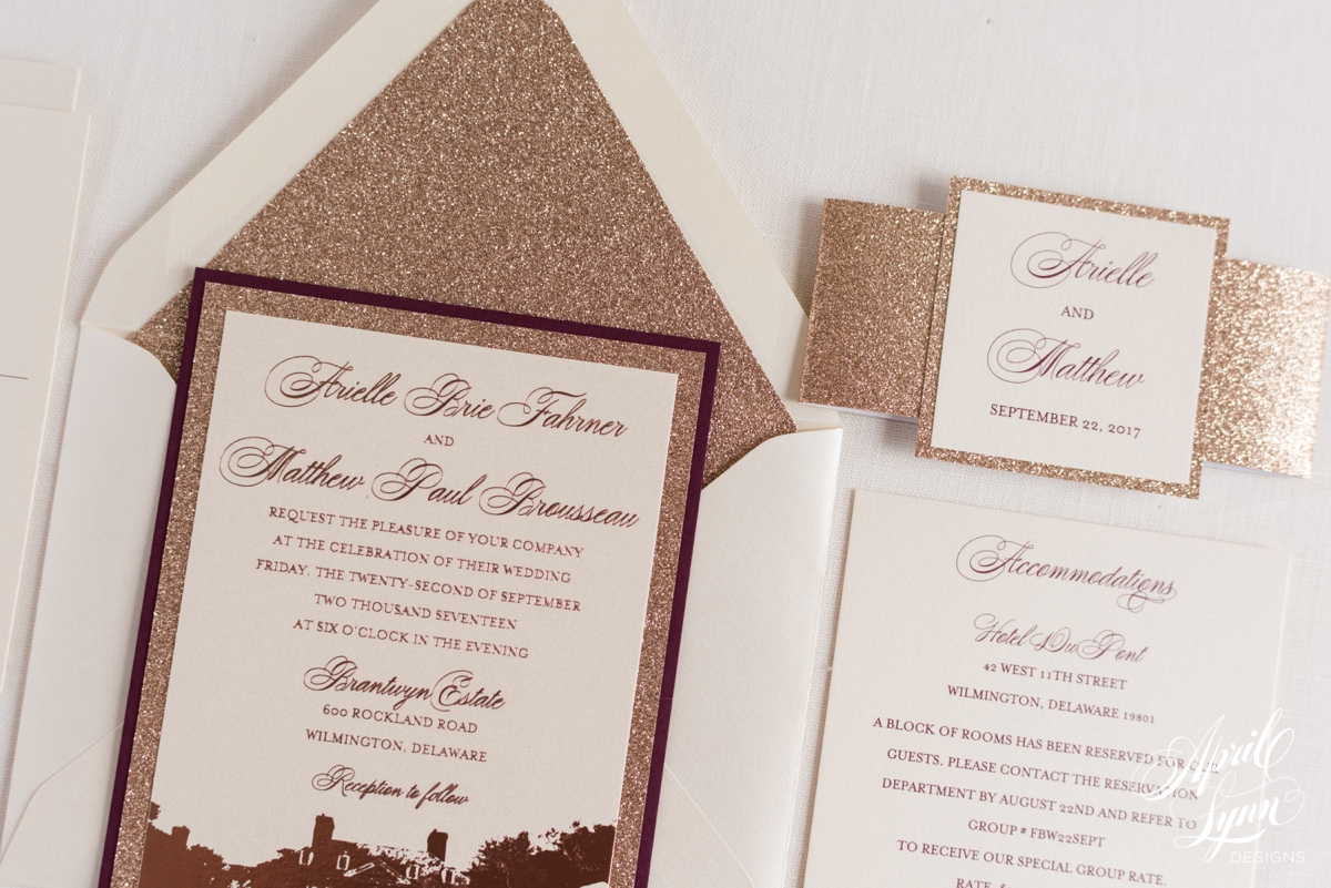 arielle   matthew u2019s luxury rose gold foil and burgundy wedding invitation suite