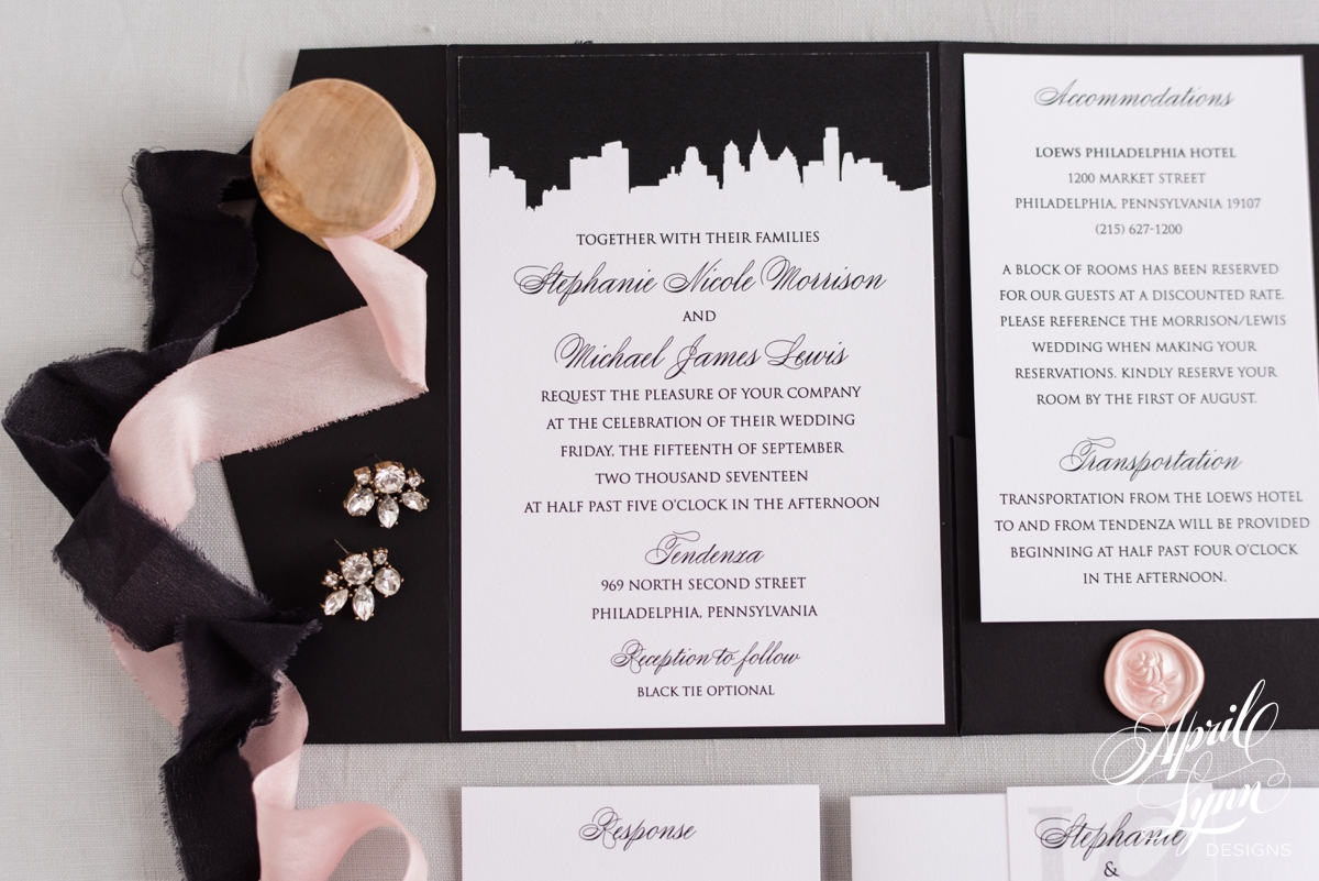 Classic Black and White Philadelphia City Skyline Wedding Invitation | www.aprillynndesigns.com