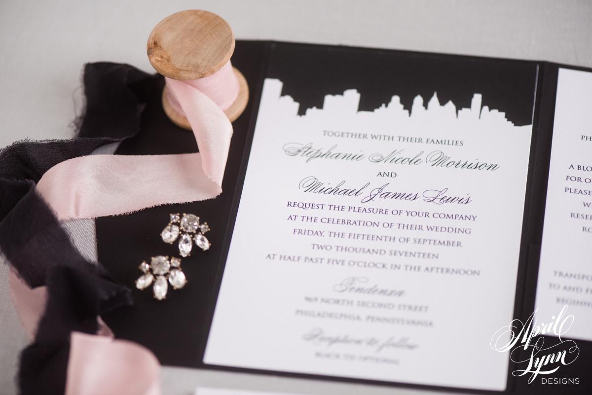 Classic Black and White Philadelphia City Skyline Wedding Invitation | www.aprillynndesigns.com