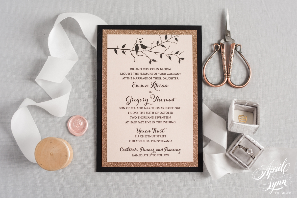 Luxury Rose Gold Love Birds Wedding Invitation