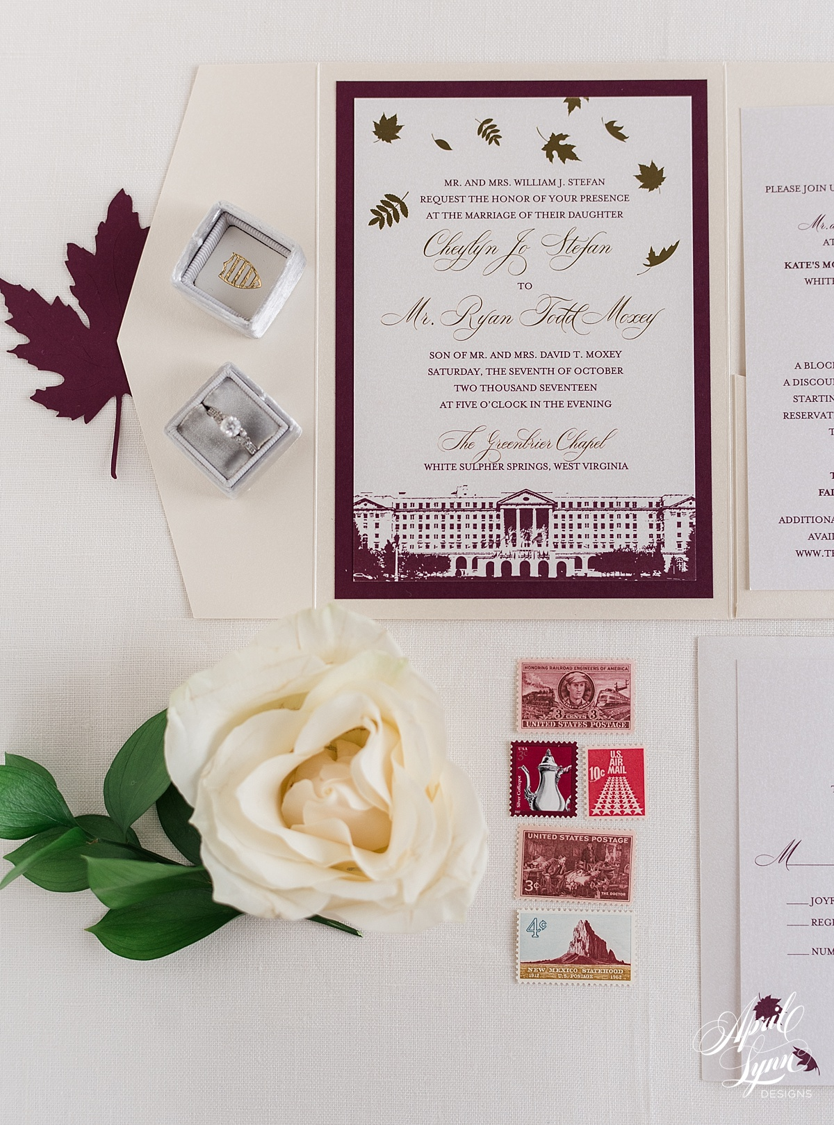 Luxury Fall Themed Pocketfold Greenbrier Wedding Invitation | www.aprillynndesigns.com