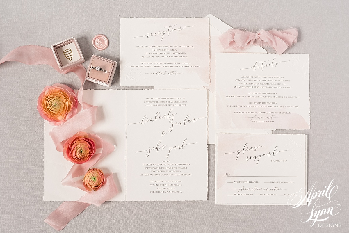 April_Lynn_Designs_Luxury_Wedding_Invitations_Blush_Watercolor_Horticulture_Center_Philadelphia