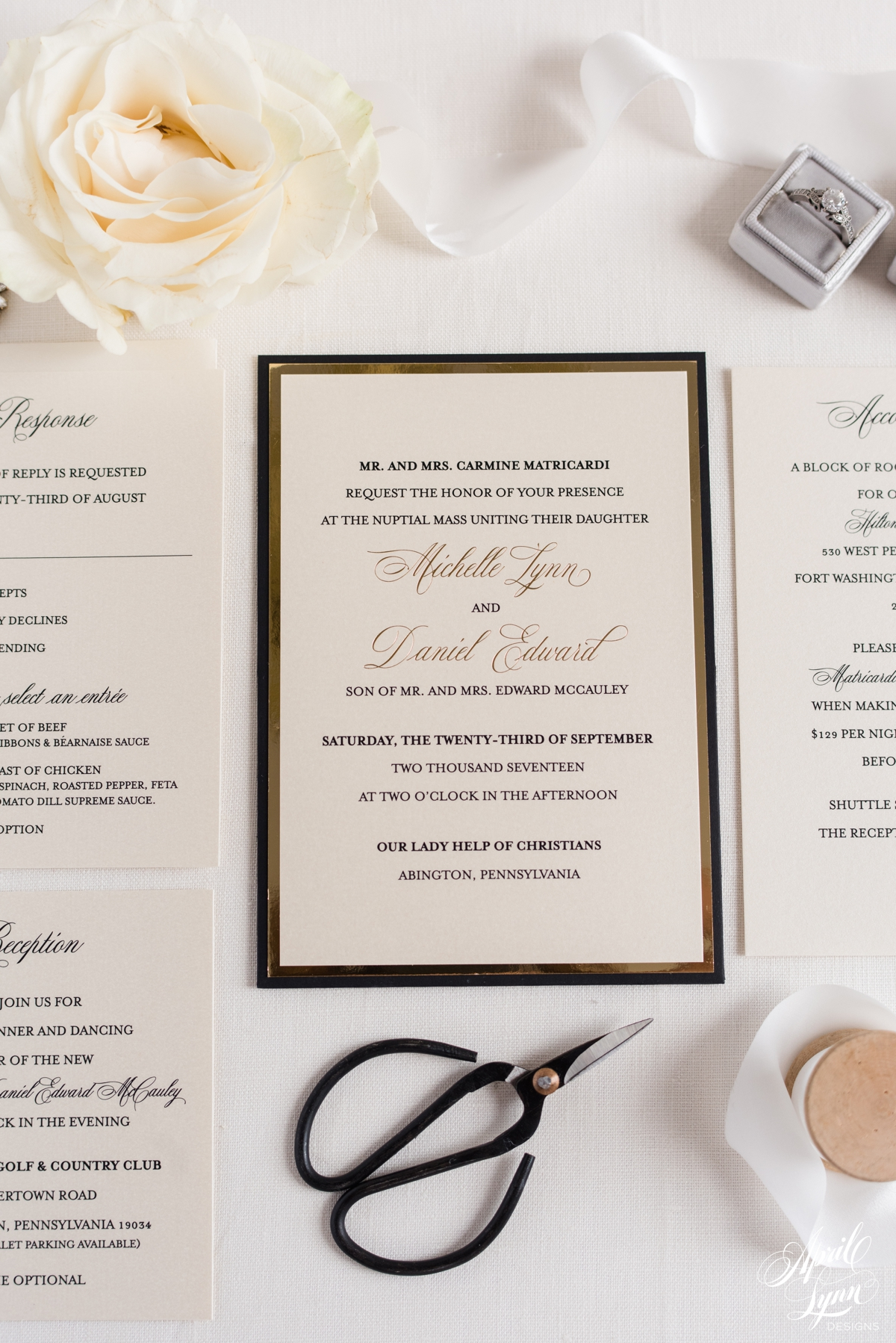 Country Club Luxury Gold Foil and Black Wedding Invitation Suite | www.aprillynndesigns.com