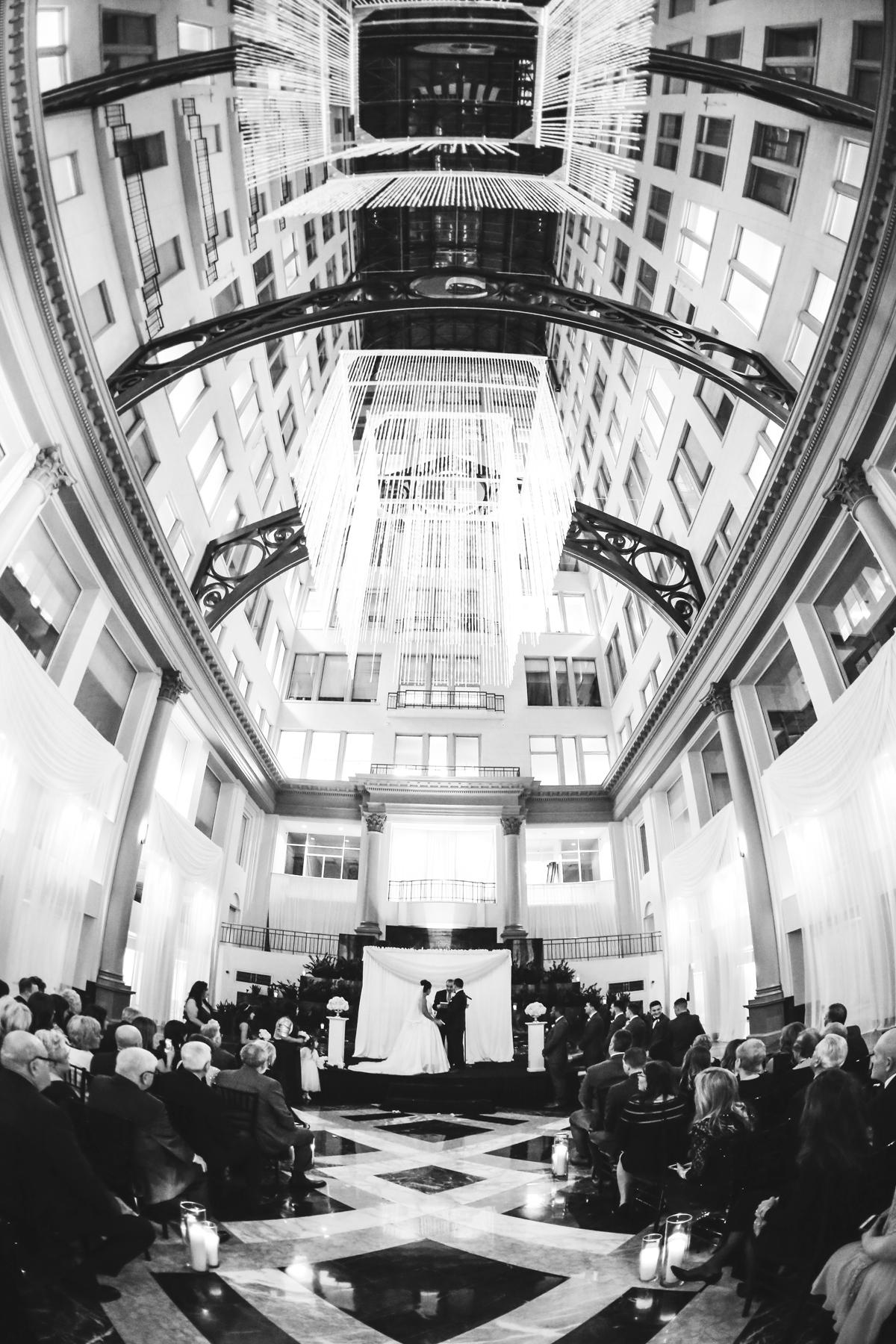 Elegant and Luxurious Atrium at Curtis Center Wedding in Philadelphia | www.aprillynndesigns.com