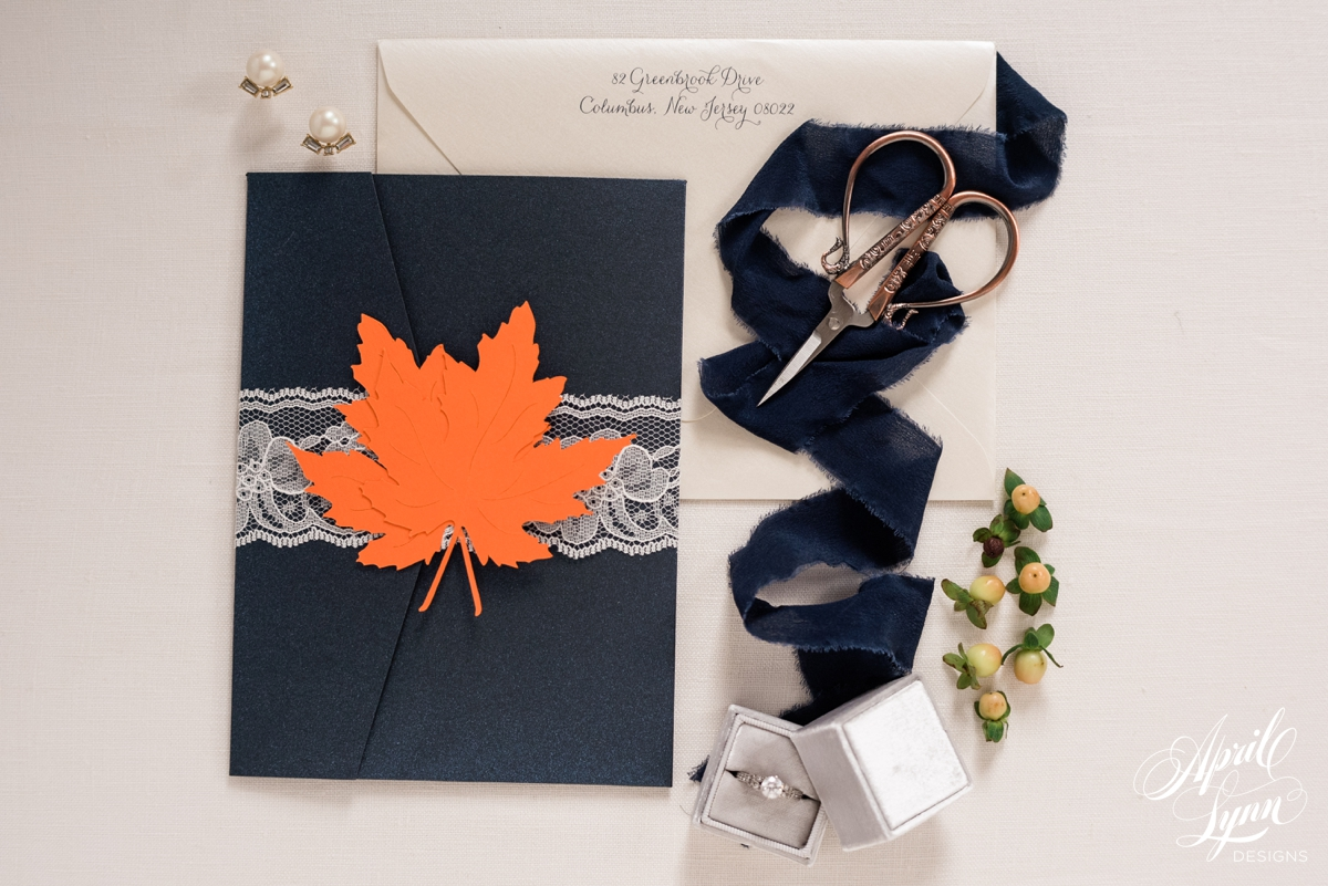 Navy, Orange, and Ivory Fall Pocketfold HollyHedge Estate Wedding Invitation | www.aprillynndesigns.com