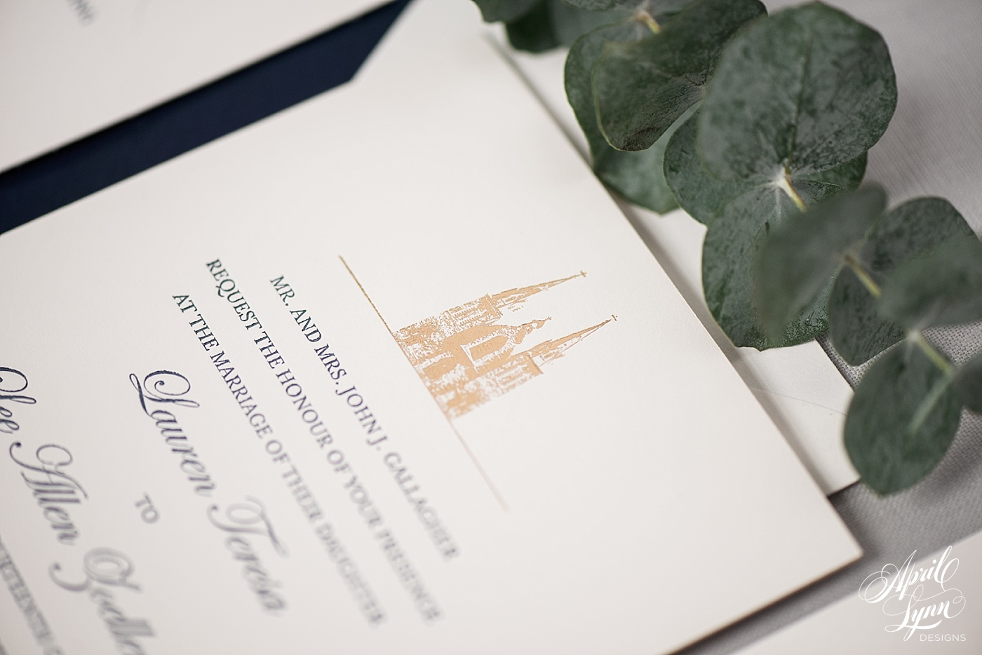 Luxury Gold Foil Villanova Wedding Invitation | www.aprillynndesigns.com