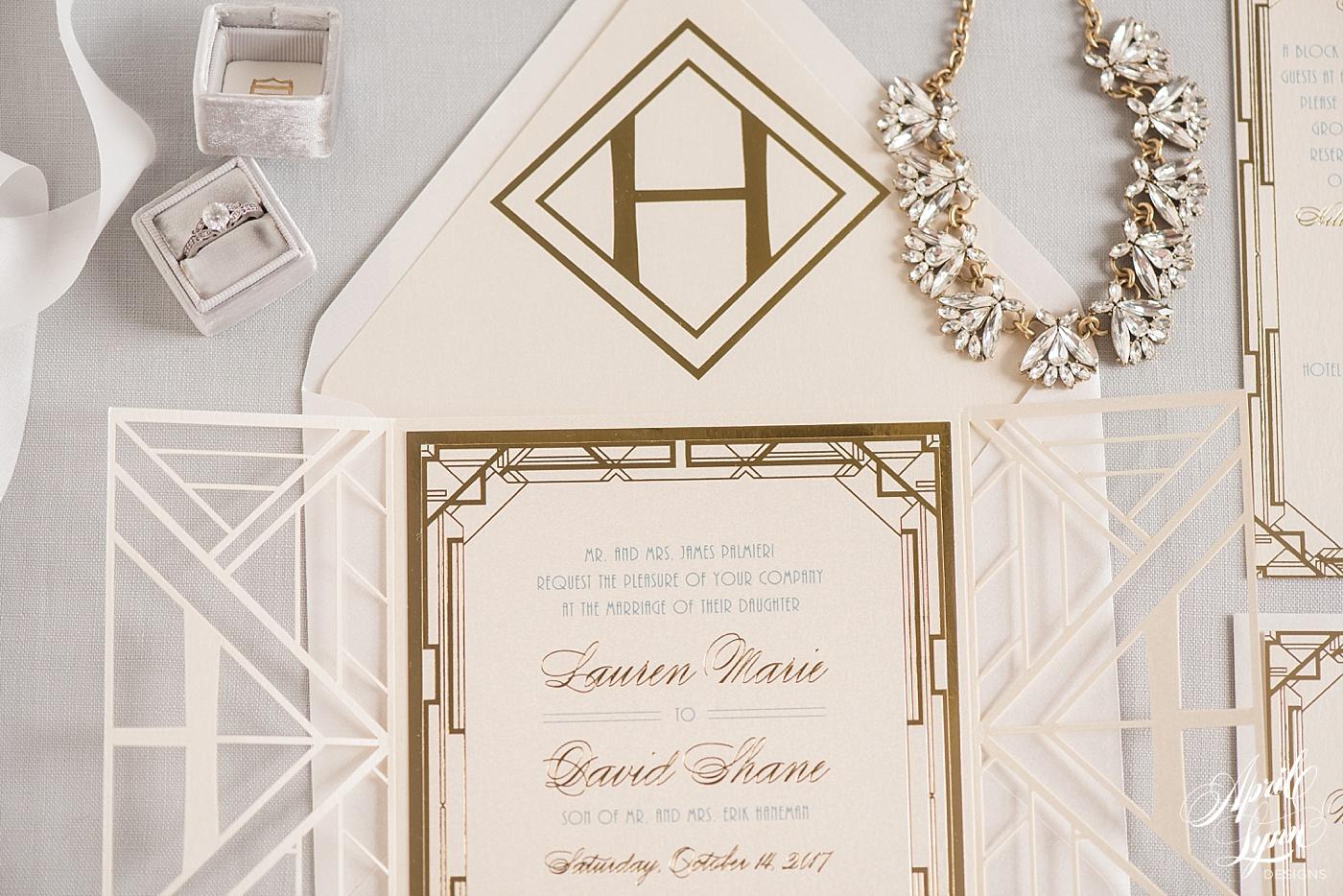 Custom Lasercut Gatsby Wedding Invitation | www.aprillynndesigns.com