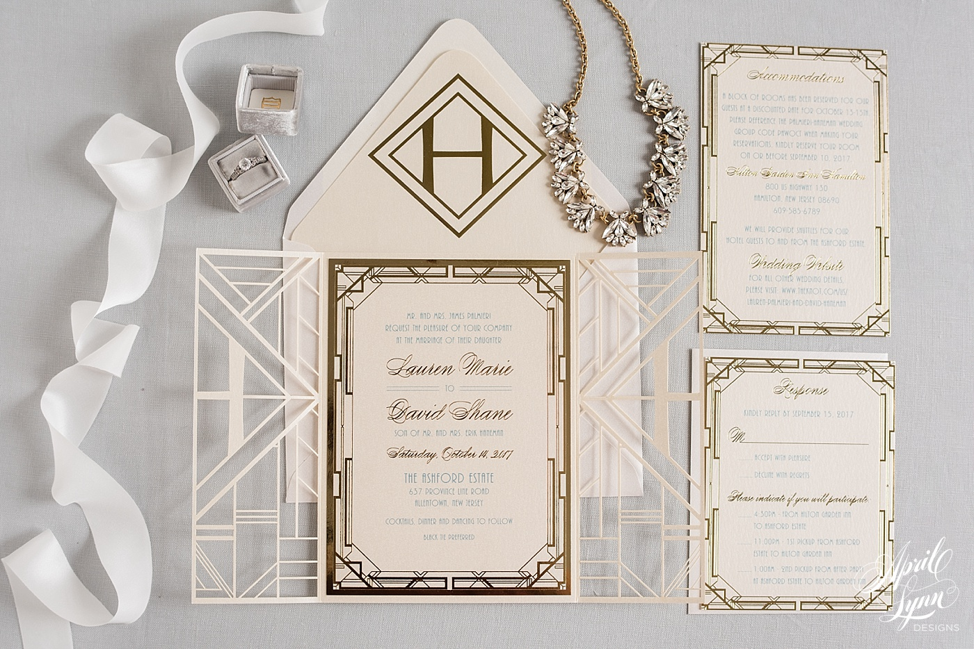 Custom Lasercut Gatsby Wedding Invitation | www.aprillynndesigns.com