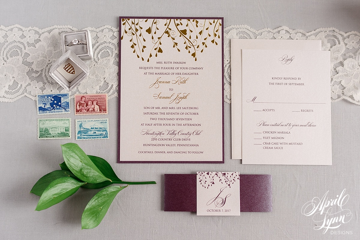 Plum, Gold, and Ivory Fall Themed Wedding Invitation | www.aprillynndesigns.com