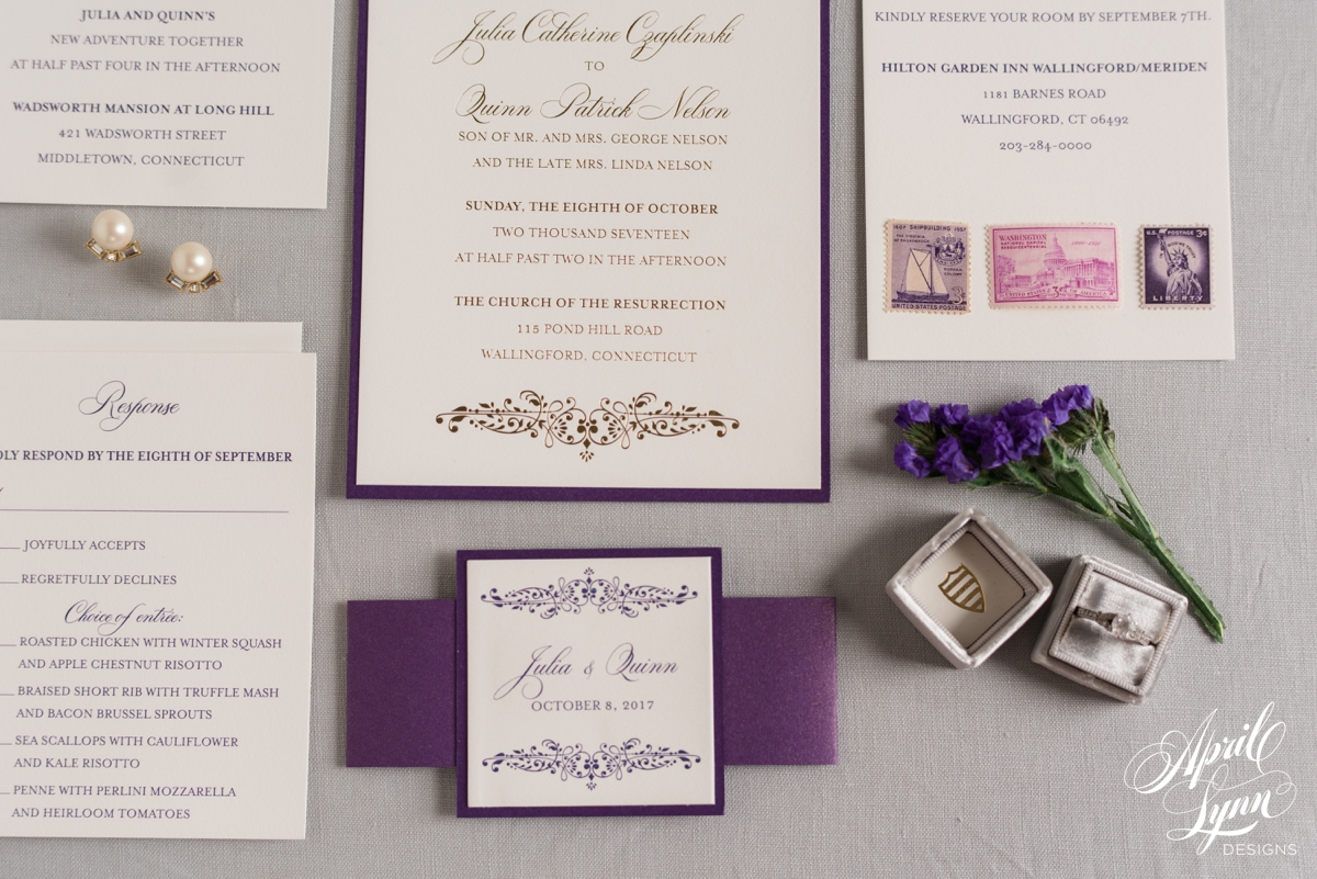 Purple and Gold Foil Layered Connecticut Wedding Invitation | www.aprillynndesigns.com