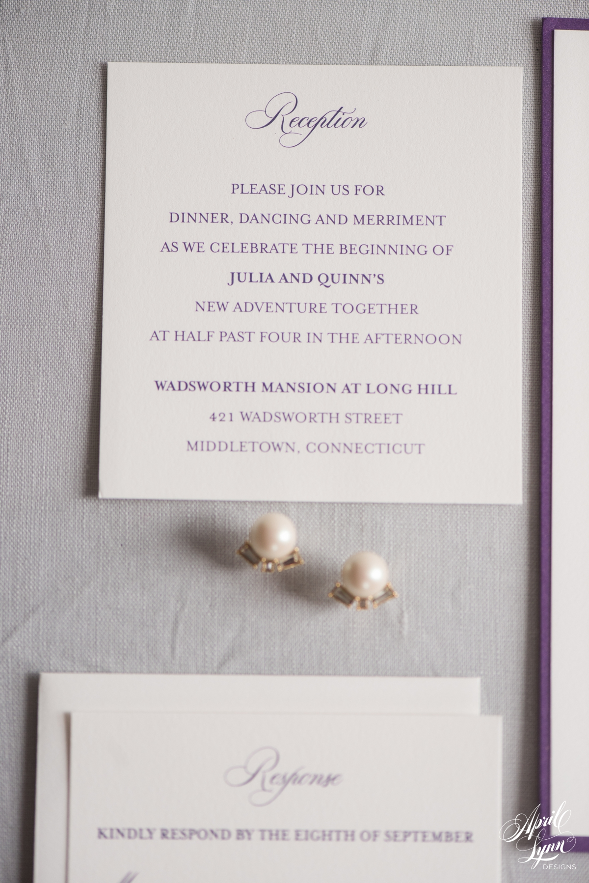 Julia quinns gold and purple layered wedding invitation for Lavender avenue wedding invitations